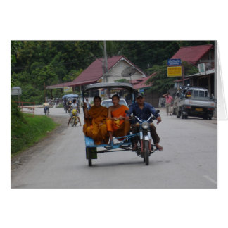 Monks on a tuk tuk card