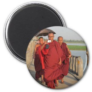 Monks on U-Bein Bridge, Mandalay 2 Inch Round Magnet