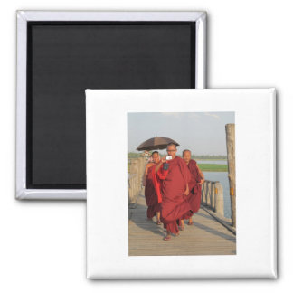 Monks on U-Bein Bridge, Mandalay 2 Inch Square Magnet