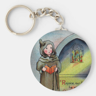 Monks Singing Carol Antique Christmas Keychain