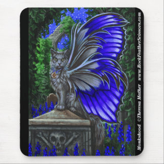 Monkshood Grey Fairy Cat Mousepad