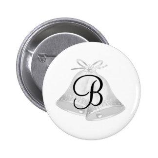 Monnogram Wedding Bells Button