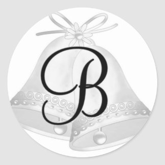 Monnogram Wedding Bells Classic Round Sticker