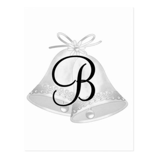 Monnogram Wedding Bells Postcard