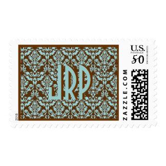 Monnogrammed Blue & Brown Damask Postage