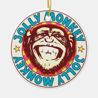 Mono alegre adorno navideño redondo de cerámica