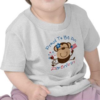 Mono americano orgulloso del chica camisetas