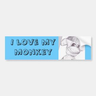 mono, amo mi mono pegatina para auto