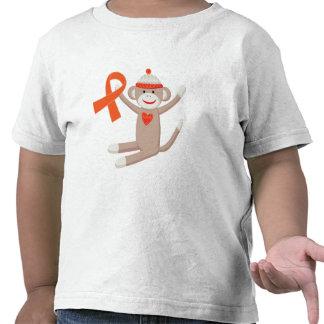 Mono anaranjado del calcetín de la cinta de la camiseta
