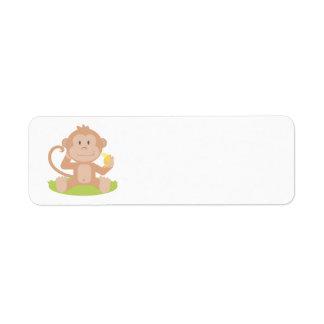 Mono animado etiqueta de remite