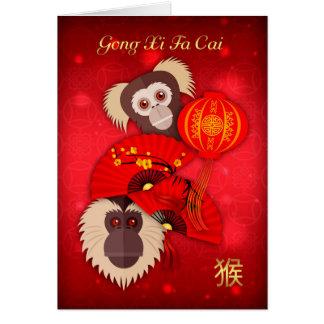 Mono, Año Nuevo chino, gongo XI Fa Cai, tarjeta