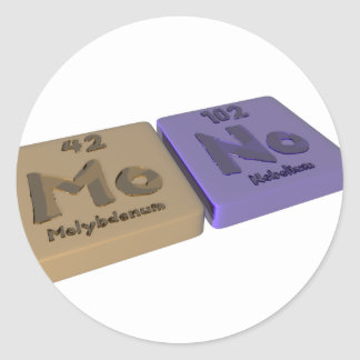 Mono as Mo Molybdenum and No Nobelium Classic Round Sticker