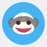 Mono azul del calcetín pegatina