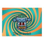 Mono azul del zombi en rayas verdes anaranjadas invitación 12,7 x 17,8 cm