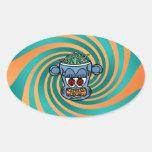 Mono azul del zombi en rayas verdes anaranjadas colcomanias oval personalizadas