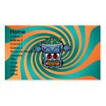 Mono azul del zombi en rayas verdes anaranjadas plantilla de tarjeta de visita