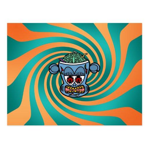 Mono azul del zombi en rayas verdes anaranjadas postal