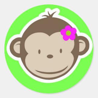 Mono-chica-verde Pegatina Redonda