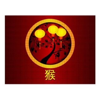 Mono chino elegante del Año Nuevo con las Postal