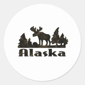 Mono Colored Alaskan Moose Scene Classic Round Sticker