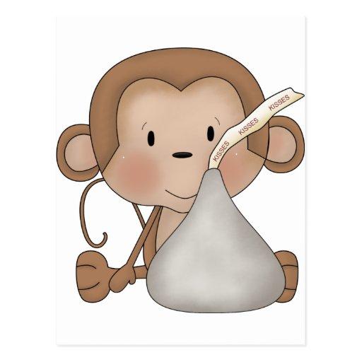 Mono con beso de chocolate tarjeta postal