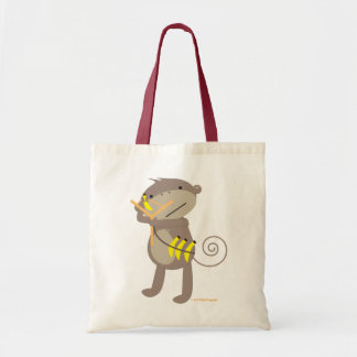 Mono con el bolso de la catapulta bolsa tela barata