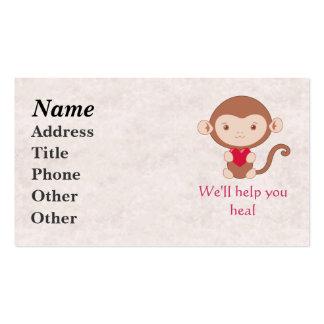 Mono con el corazón tarjetas de visita