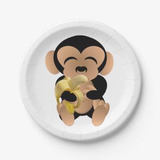 Mono con el plátano plato de papel 17,78 cm