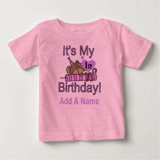 Mono con la 1ra camiseta del cumpleaños de la vela playera