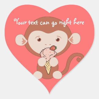 Mono con los pegatinas del corazón del helado calcomanías de corazones personalizadas