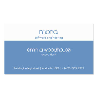 Mono Cornflower Blue & White Business Card