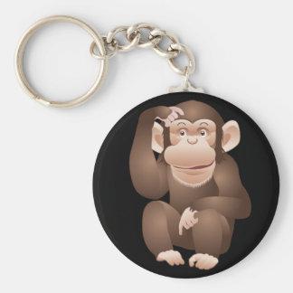 Mono curioso llavero redondo tipo pin