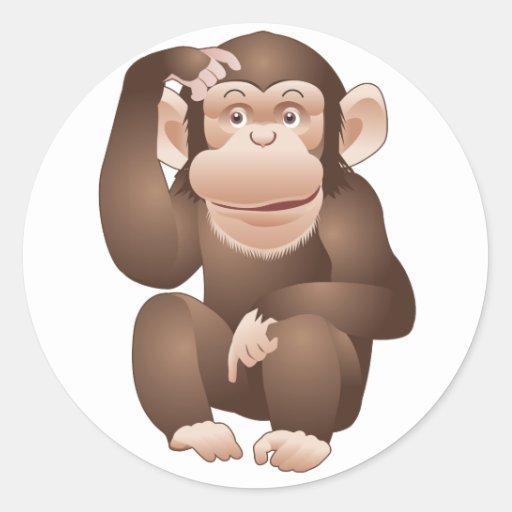 Mono curioso pegatina redonda