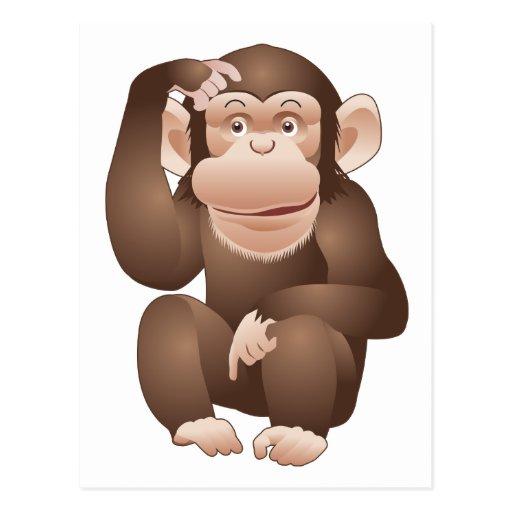 Mono curioso postal