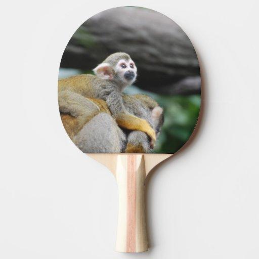 Mono de ardilla adorable del bebé pala de tenis de mesa