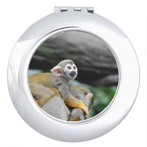 Mono de ardilla adorable del bebé espejo maquillaje