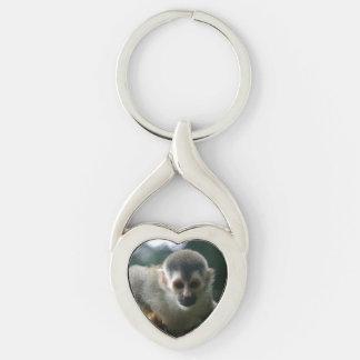 Mono de ardilla parecido a una araña llavero plateado en forma de corazón