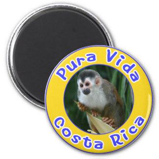 Mono de ardilla, Pura Vida, Costa Rica Imán Redondo 5 Cm