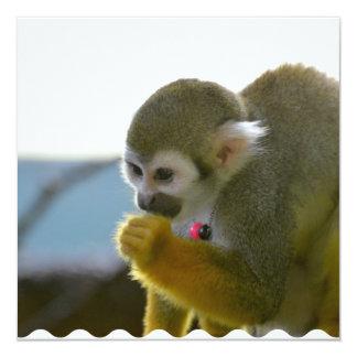 Mono de ardilla Snacking Invitación 13,3 Cm X 13,3cm