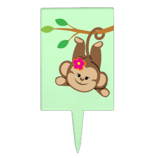 Mono de balanceo del chica figura para tarta