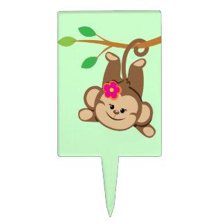 Mono de balanceo del chica decoraciones para tartas