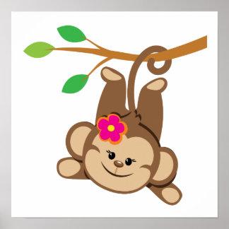 Mono de balanceo del chica póster