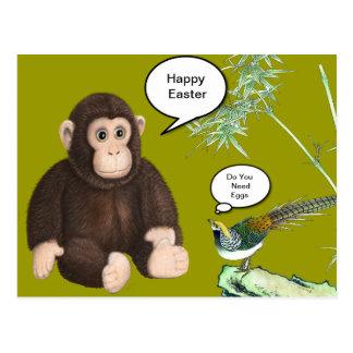 Mono de Brown Pascua Postal