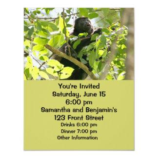 """Mono de chillón en la foto de la selva invitación 4.25"""" x 5.5"""""""