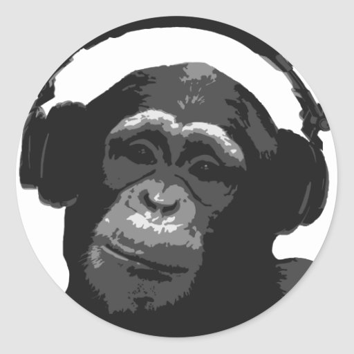 MONO DE DJ PEGATINA REDONDA