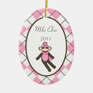 Mono de encargo personalizado del calcetín del adorno navideño ovalado de cerámica