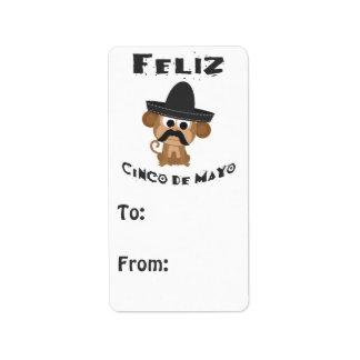 Mono de Feliz Cinco De Mayo Etiquetas De Dirección