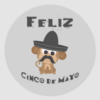 Mono de Feliz Cinco De Mayo Pegatina Redonda