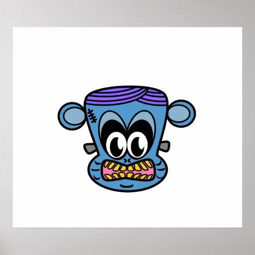 Mono de Frankenstein en azul Posters