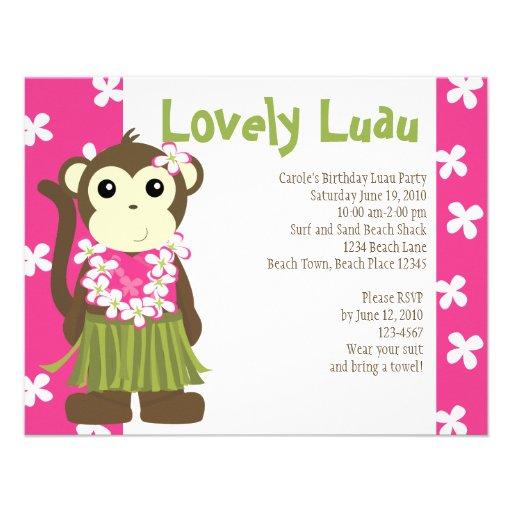 Mono de Hula Invitacion Personalizada